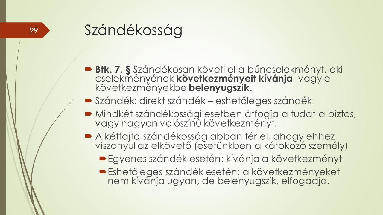 Szándékosság  Btk. 7.