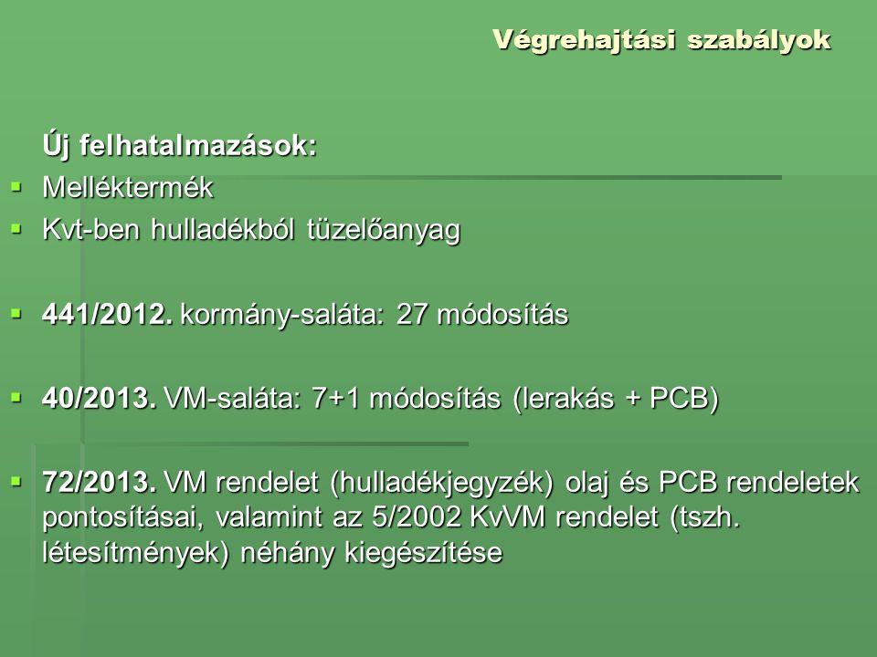 Végrehajtási szabályok Új felhatalmazások:  Melléktermék  Kvt-ben hulladékból tüzelőanyag  441/2012. kormány-saláta: 27 módosítás  40/2013. VM-sal