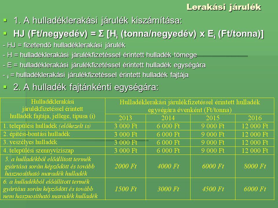 Lerakási járulék  1. A hulladéklerakási járulék kiszámítása:  HJ (Ft/negyedév) = Σ [H i (tonna/negyedév) x E i (Ft/tonna)] - HJ = fizetendő hulladék