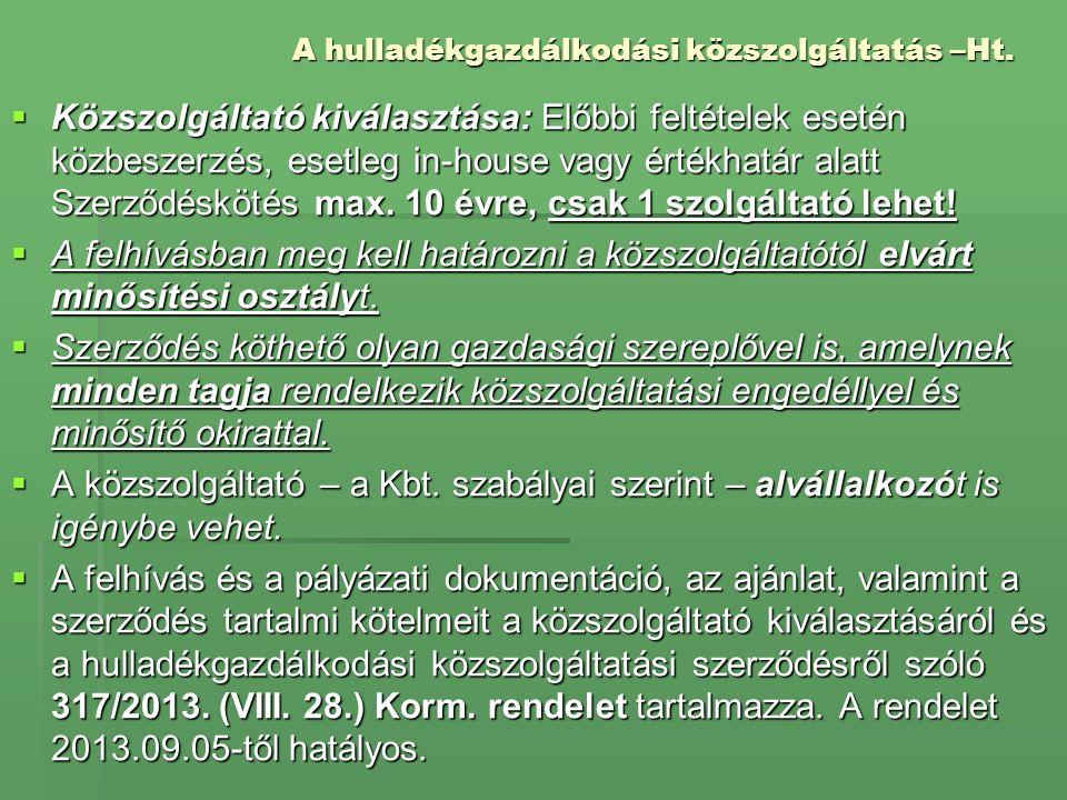 A hulladékgazdálkodási közszolgáltatás –Ht.