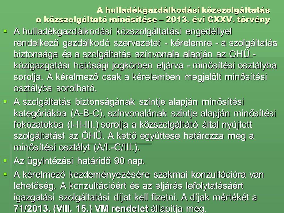 A hulladékgazdálkodási közszolgáltatás a közszolgáltató minősítése – 2013. évi CXXV. törvény  A hulladékgazdálkodási közszolgáltatási engedéllyel ren