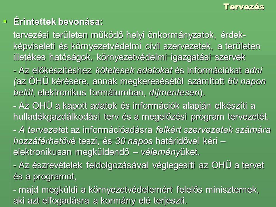 Tervezés  Érintettek bevonása: tervezési területen működő helyi önkormányzatok, érdek- képviseleti és környezetvédelmi civil szervezetek, a területen
