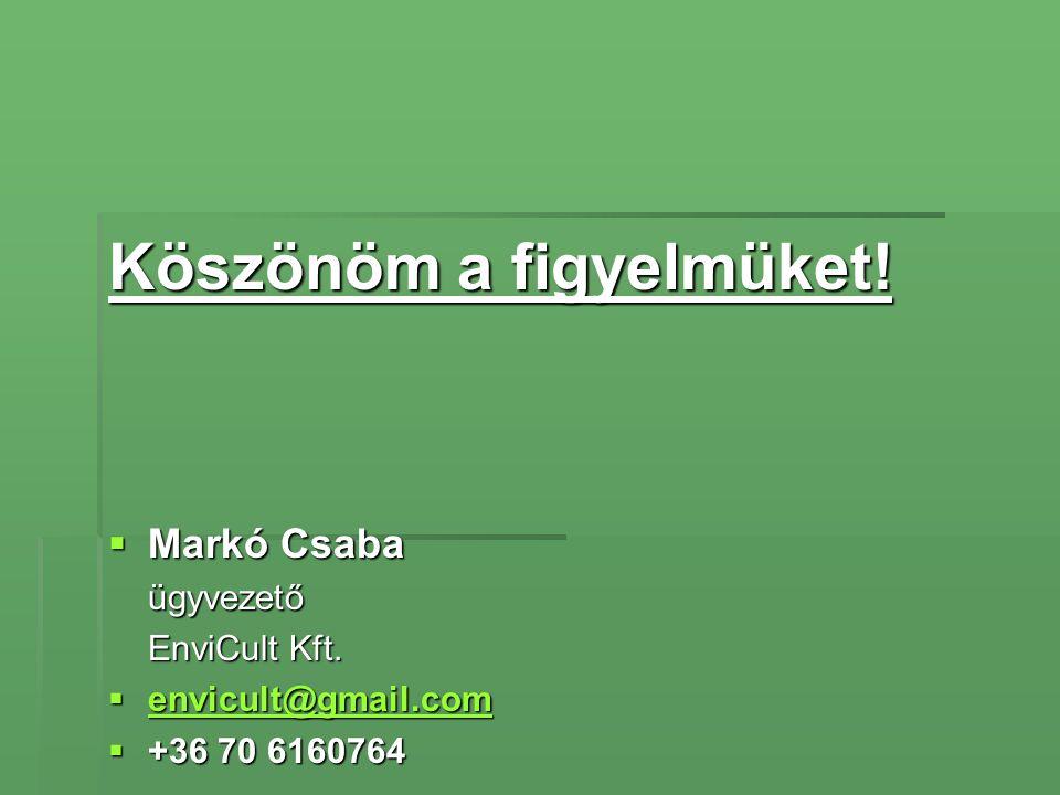 Köszönöm a figyelmüket!  Markó Csaba ügyvezető EnviCult Kft.  envicult@gmail.com envicult@gmail.com envicult@gmail.com  +36 70 6160764