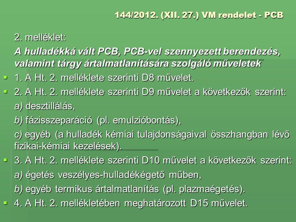 144/2012. (XII. 27.) VM rendelet - PCB 2. melléklet: A hulladékká vált PCB, PCB-vel szennyezett berendezés, valamint tárgy ártalmatlanítására szolgáló