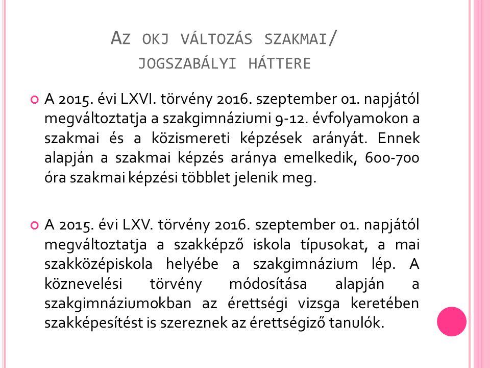 A Z OKJ VÁLTOZÁS SZAKMAI / JOGSZABÁLYI HÁTTERE A 2015. évi LXVI. törvény 2016. szeptember 01. napjától megváltoztatja a szakgimnáziumi 9-12. évfolyamo