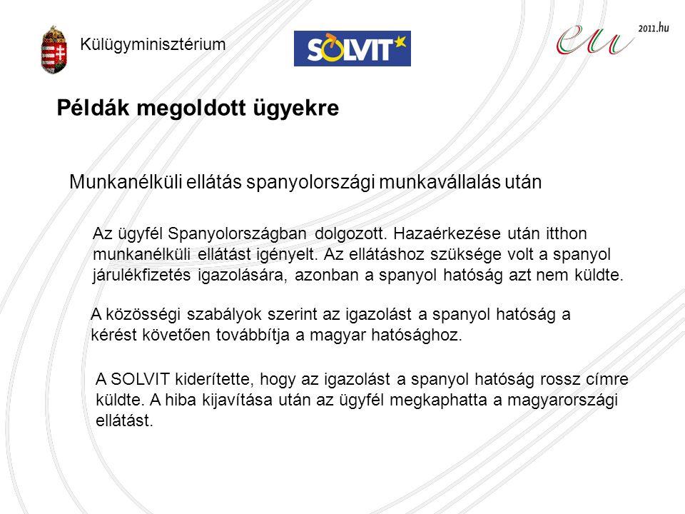 SOLVIT teljesítménye (2010) Teljes hálózatMagyar központ Ügyszám136372 Megoldott ügyek aránya 90 %87 % Átlagos ügyintézési idő66 nap29 nap Külügyminisztérium