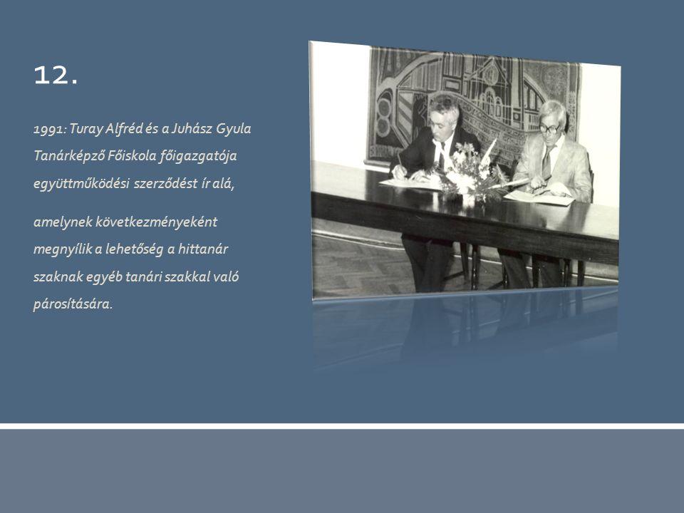 12. 1991: Turay Alfréd és a Juhász Gyula Tanárképző Főiskola főigazgatója együttműködési szerződést ír alá, amelynek következményeként megnyílik a leh