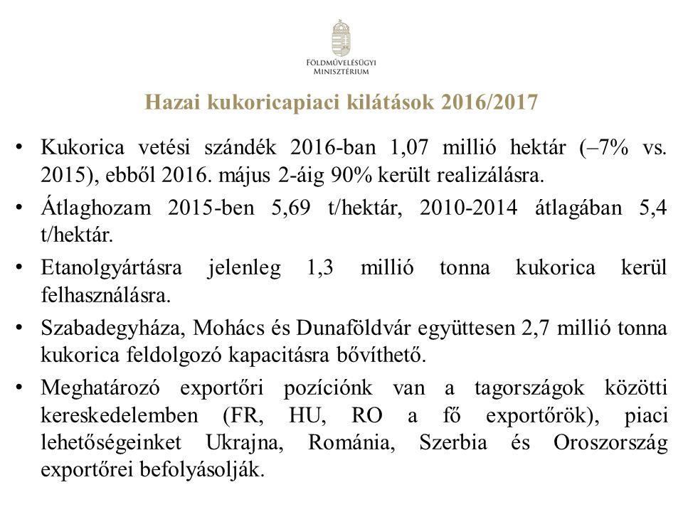 Hazai kukoricapiaci kilátások 2016/2017 Kukorica vetési szándék 2016-ban 1,07 millió hektár (–7% vs.
