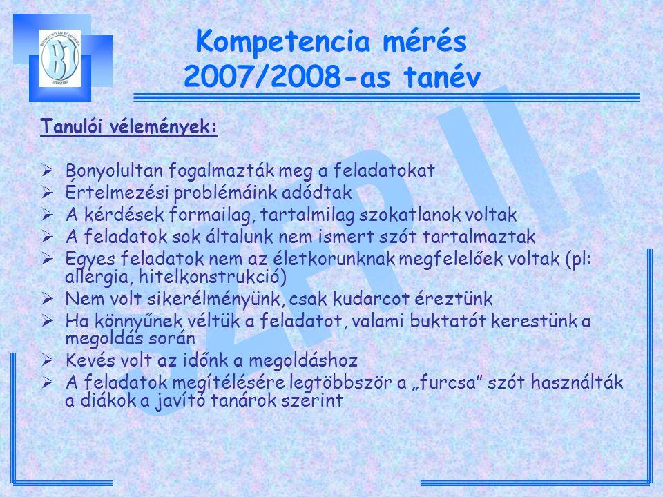 """Kompetencia mérés 2007/2008-as tanév Tanulói vélemények:  Bonyolultan fogalmazták meg a feladatokat  Értelmezési problémáink adódtak  A kérdések formailag, tartalmilag szokatlanok voltak  A feladatok sok általunk nem ismert szót tartalmaztak  Egyes feladatok nem az életkorunknak megfelelőek voltak (pl: allergia, hitelkonstrukció)  Nem volt sikerélményünk, csak kudarcot éreztünk  Ha könnyűnek véltük a feladatot, valami buktatót kerestünk a megoldás során  Kevés volt az időnk a megoldáshoz  A feladatok megítélésére legtöbbször a """"furcsa szót használták a diákok a javító tanárok szerint"""