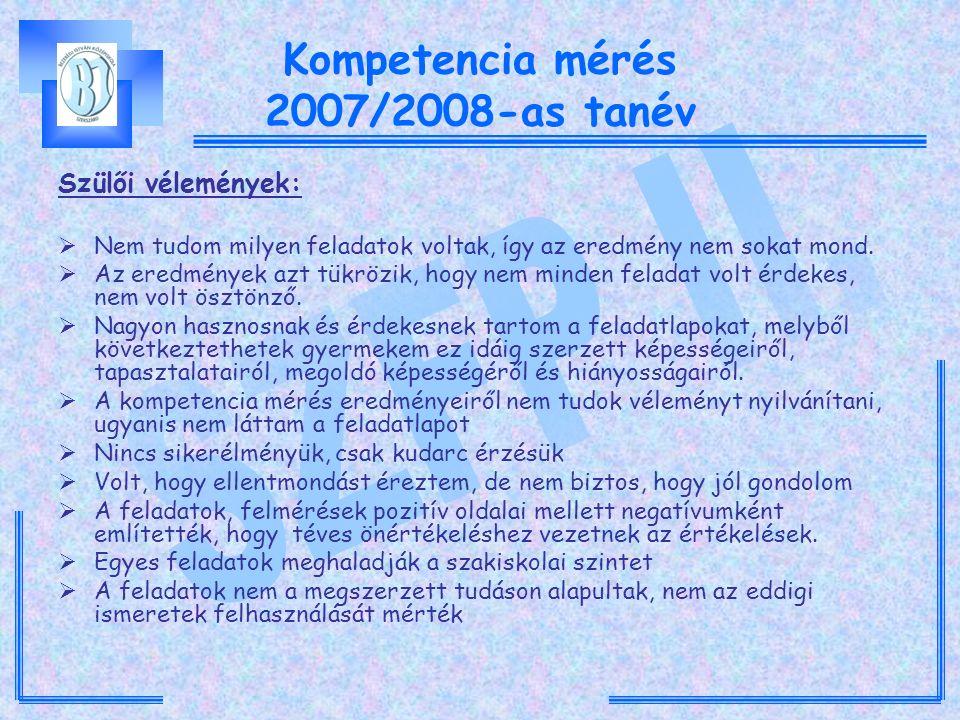 Kompetencia mérés 2007/2008-as tanév Szülői vélemények:  Nem tudom milyen feladatok voltak, így az eredmény nem sokat mond.