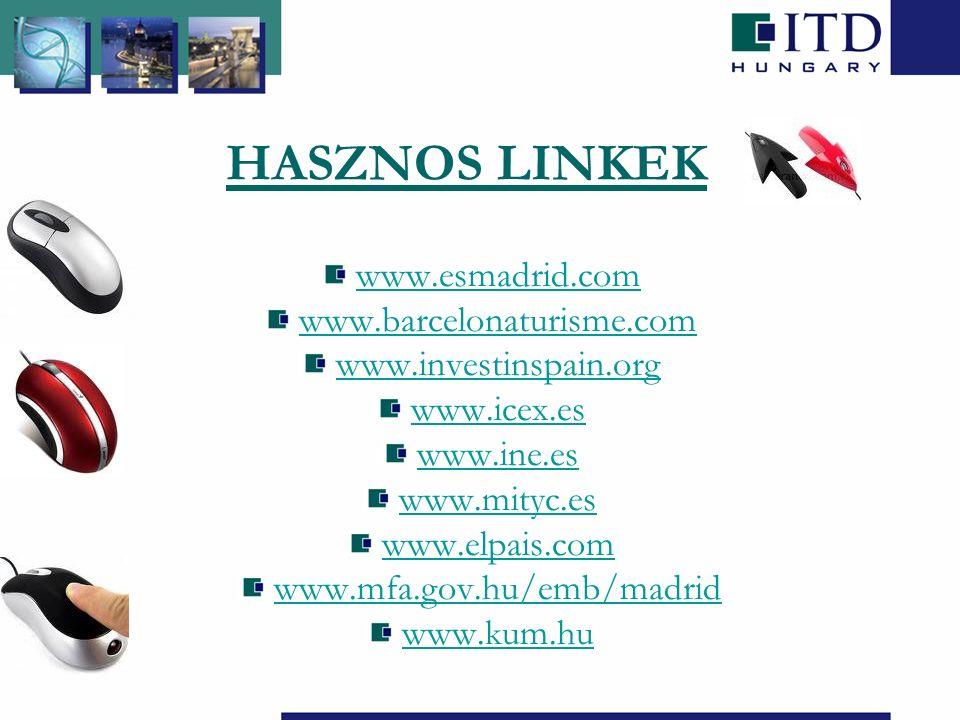 HASZNOS LINKEK www.esmadrid.com www.barcelonaturisme.com www.investinspain.org www.icex.es www.ine.es www.mityc.es www.elpais.com www.mfa.gov.hu/emb/madrid www.kum.hu