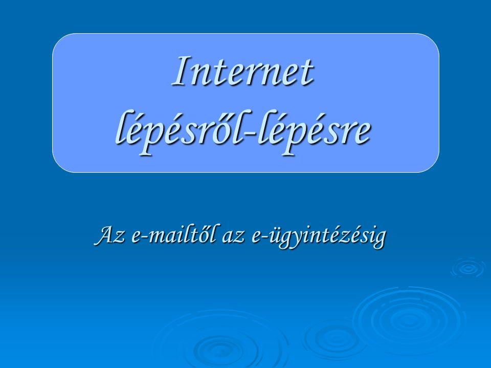 Néhány, az Internet által nyújtott lehetőségekből  Gyors és egyszerű kapcsolattartás  Információszerzés  E-vásárlás  E-tanulás  E-ügyintézés Mielőtt csatlakoznánk: … BIZTONSÁG!