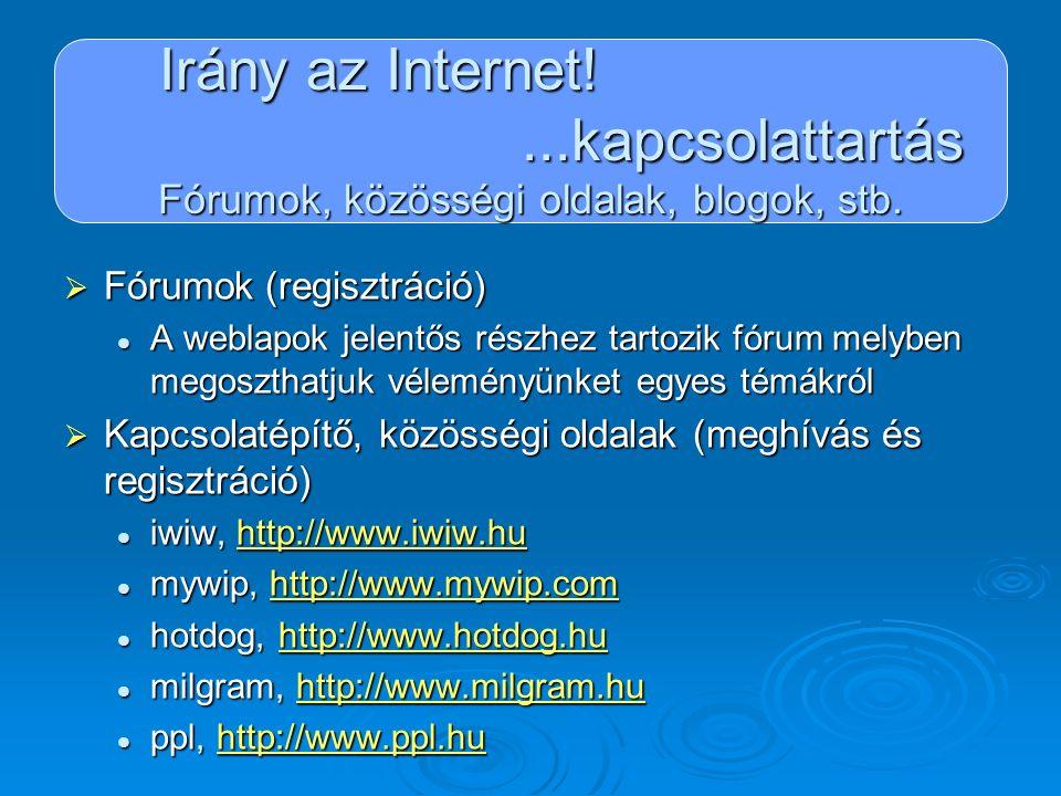 Irány az Internet!...kapcsolattartás Fórumok, közösségi oldalak, blogok, stb.  Fórumok (regisztráció) A weblapok jelentős részhez tartozik fórum mely