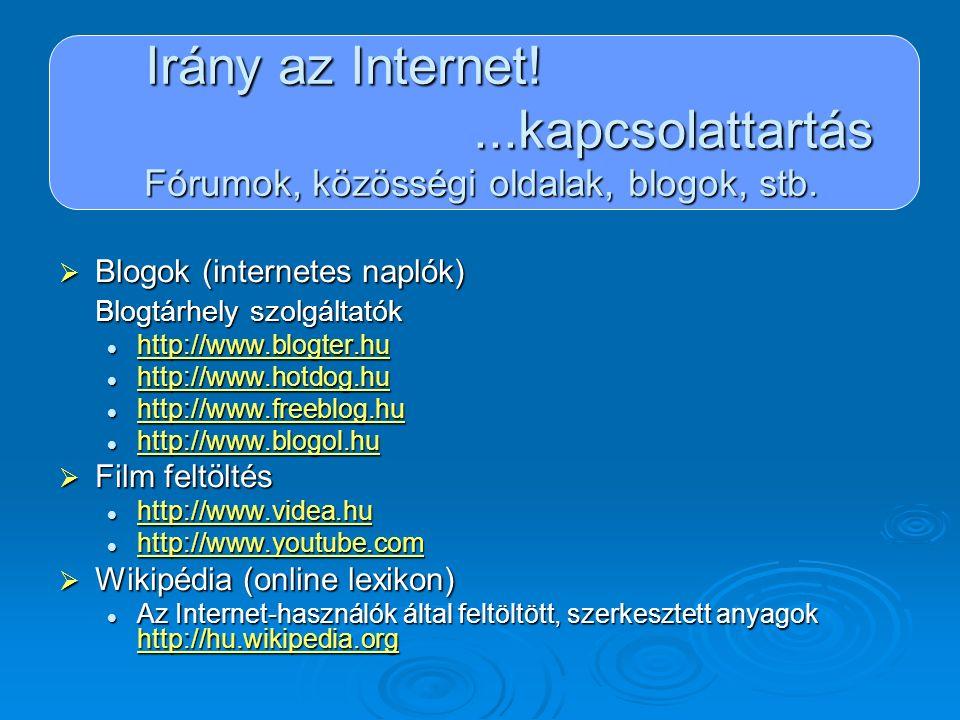 Irány az Internet!...kapcsolattartás Fórumok, közösségi oldalak, blogok, stb.  Blogok (internetes naplók) Blogtárhely szolgáltatók http://www.blogter