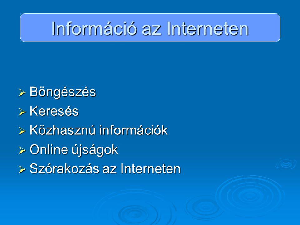 Információ az Interneten  Böngészés  Keresés  Közhasznú információk  Online újságok  Szórakozás az Interneten