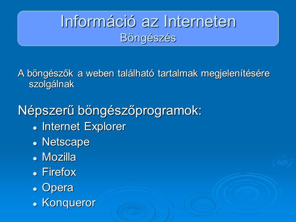 Információ az Interneten Böngészés A böngészők a weben található tartalmak megjelenítésére szolgálnak Népszerű böngészőprogramok: Internet Explorer In