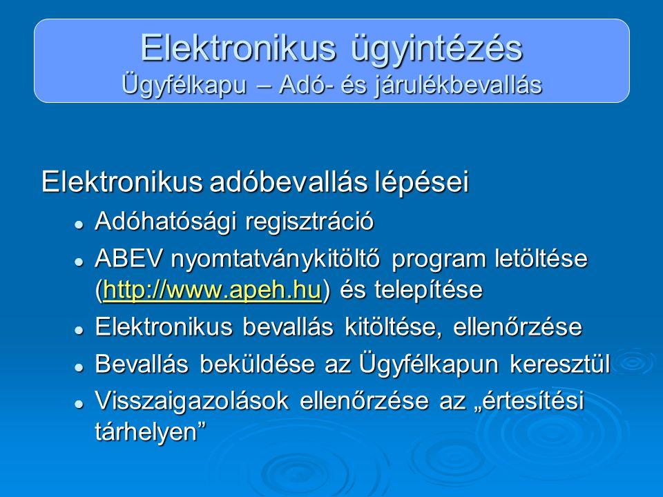 Elektronikus ügyintézés Ügyfélkapu – Adó- és járulékbevallás Elektronikus adóbevallás lépései Adóhatósági regisztráció Adóhatósági regisztráció ABEV n