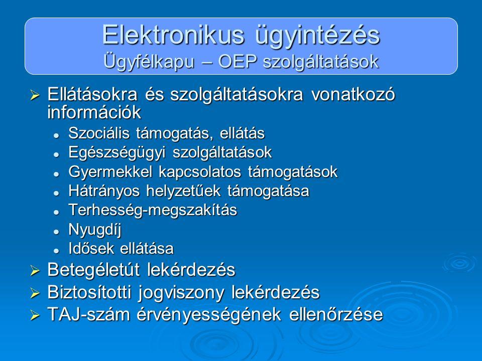 Elektronikus ügyintézés Ügyfélkapu – OEP szolgáltatások  Ellátásokra és szolgáltatásokra vonatkozó információk Szociális támogatás, ellátás Szociális