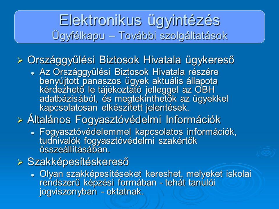 Elektronikus ügyintézés Ügyfélkapu – További szolgáltatások  Országgyűlési Biztosok Hivatala ügykereső Az Országgyülési Biztosok Hivatala részére ben