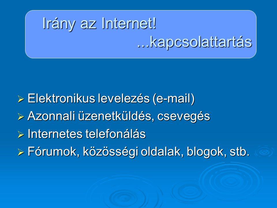 Irány az Internet!...kapcsolattartás Elektronikus levelezés Fajtái:  Számítógépre telepített levelezőprogramok: Microsoft Outlook Microsoft Outlook Outlook Express Outlook Express  Webmail (ingyenes szolgáltatók): http://www.freemail.hu http://www.freemail.hu http://www.freemail.hu http://www.citromail.hu http://www.citromail.hu http://www.citromail.hu http://www.indamail.hu http://www.indamail.hu http://www.indamail.hu http://www.vipmail.hu http://www.vipmail.hu http://www.vipmail.hu http://www.hotmail.com http://www.hotmail.com http://www.hotmail.com http://www.gmail.com http://www.gmail.com http://www.gmail.com http://www.mail.yahoo.com http://www.mail.yahoo.com http://www.mail.yahoo.com