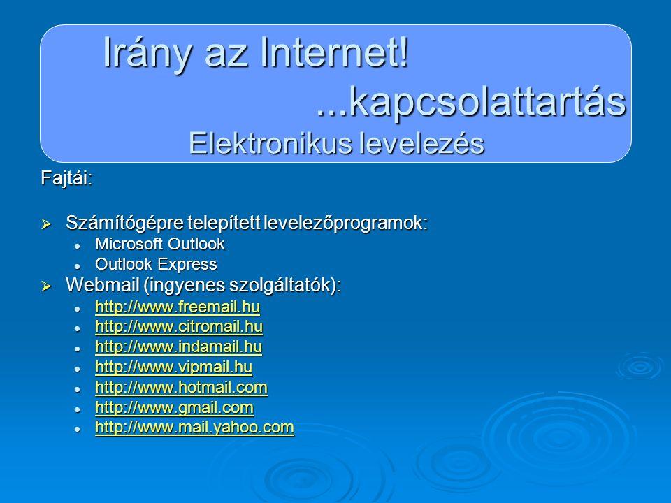 Irány az Internet!...kapcsolattartás Elektronikus levelezés Biztonságos levelezés:  Erős jelszó választása  Jelszavunk biztonságos kezelése  Csak olyan levelet vagy mellékletet nyissunk meg, melynek ismerjük a feladóját  Kérjünk szolgáltatónktól spam és vírus szűrést  Vigyázzunk a levélben érkezett linkekkel