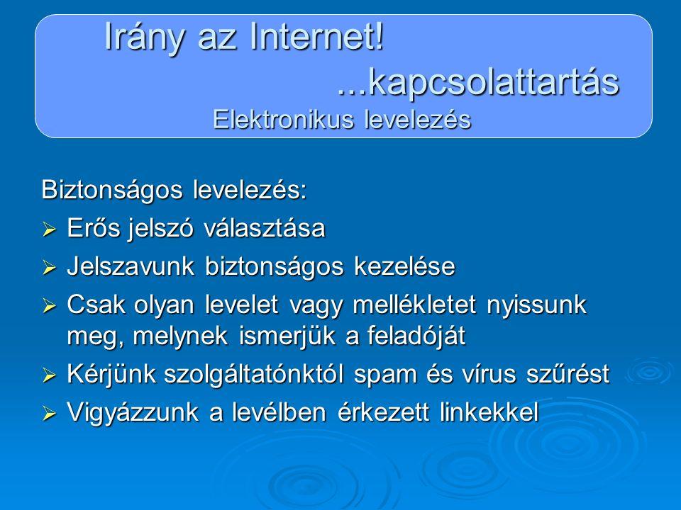 Irány az Internet!...kapcsolattartás Elektronikus levelezés Biztonságos levelezés:  Erős jelszó választása  Jelszavunk biztonságos kezelése  Csak o