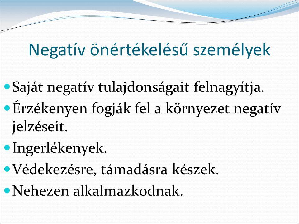 Negatív önértékelésű személyek Saját negatív tulajdonságait felnagyítja.