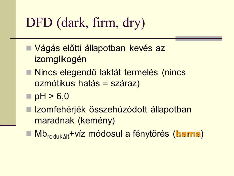 DFD (dark, firm, dry) Vágás előtti állapotban kevés az izomglikogén Nincs elegendő laktát termelés (nincs ozmótikus hatás = száraz) pH > 6,0 Izomfehér