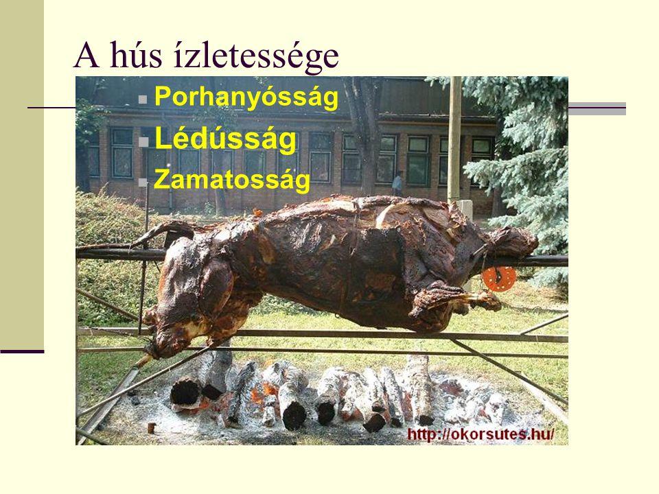 A hús ízletessége Porhanyósság Lédússág Zamatosság