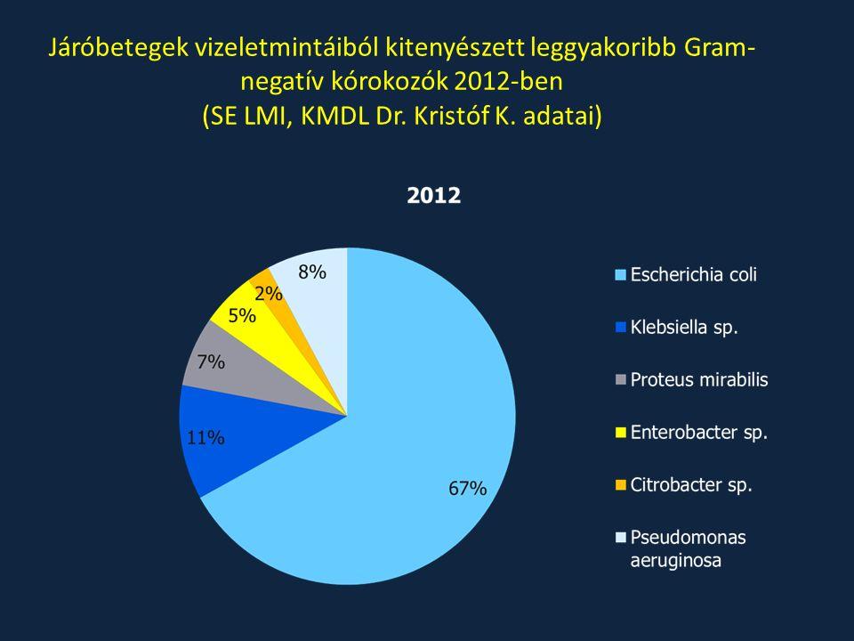Járóbetegek vizeletmintáiból kitenyészett leggyakoribb Gram- negatív kórokozók 2012-ben (SE LMI, KMDL Dr. Kristóf K. adatai)