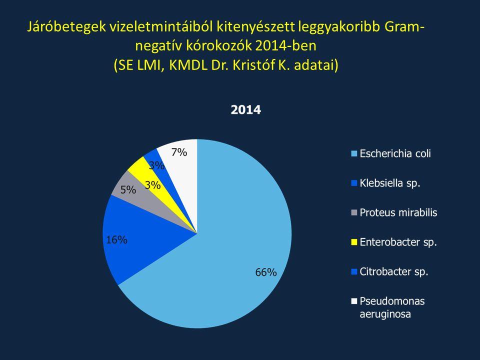 Járóbetegek vizeletmintáiból kitenyészett leggyakoribb Gram- negatív kórokozók 2014-ben (SE LMI, KMDL Dr. Kristóf K. adatai)