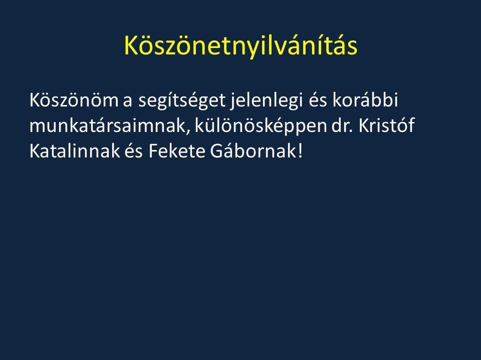 Köszönetnyilvánítás Köszönöm a segítséget jelenlegi és korábbi munkatársaimnak, különösképpen dr. Kristóf Katalinnak és Fekete Gábornak!
