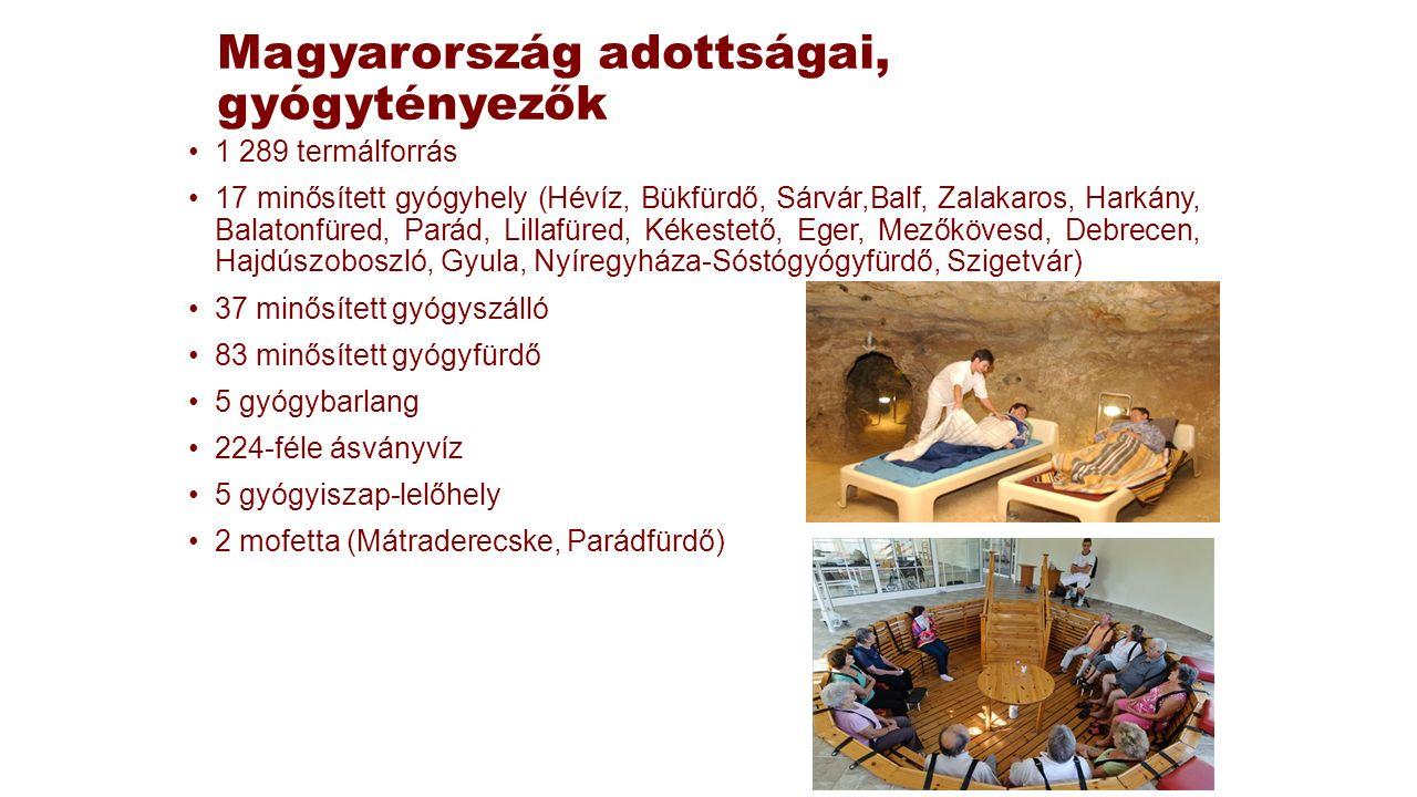 Magyarország adottságai, gyógytényezők 1 289 termálforrás 17 minősített gyógyhely (Hévíz, Bükfürdő, Sárvár,Balf, Zalakaros, Harkány, Balatonfüred, Par