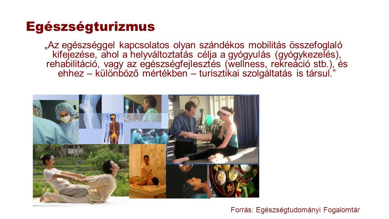 """Egészségturizmus """"Az egészséggel kapcsolatos olyan szándékos mobilitás összefoglaló kifejezése, ahol a helyváltoztatás célja a gyógyulás (gyógykezelés"""