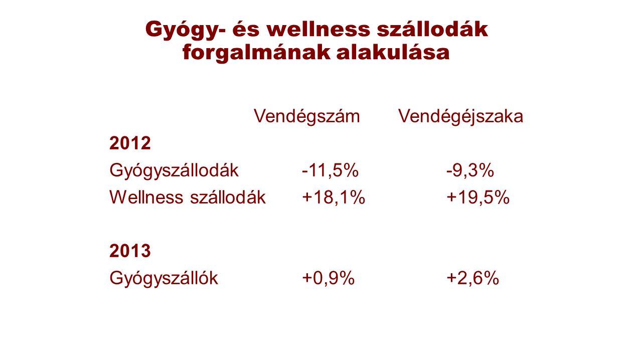 Gyógy- és wellness szállodák forgalmának alakulása VendégszámVendégéjszaka 2012 Gyógyszállodák-11,5%-9,3% Wellness szállodák+18,1%+19,5% 2013 Gyógyszá