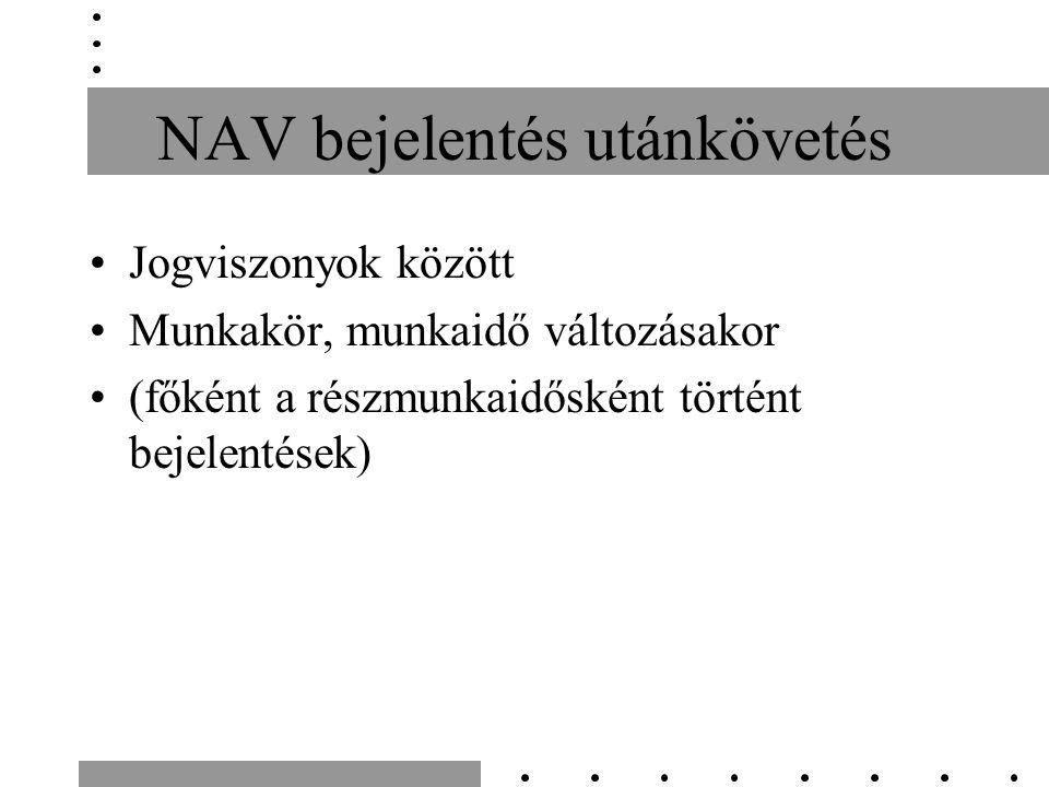 NAV bejelentés utánkövetés Jogviszonyok között Munkakör, munkaidő változásakor (főként a részmunkaidősként történt bejelentések)