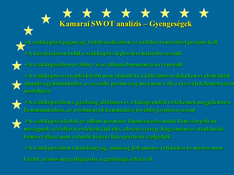 Kamarai SWOT analízis – Erősségek  A Kormányzati szinten stratégiai fontosságú feladatként kezelik a magyar szakképzés helyzetének megújítását  Az Oktatási és Foglalkoztatási tárcával erősödő partneri együttműködés  A tanulószerződés intézményrendszerének országos kiterjesztéséhez 50 főállású tanácsadó beállítása 127 millió Ft-os OM támogatással  Gyakorlati képzés felügyeletéhez, a mesterképzéshez a kamarák évek óta támogatást kapnak a Szakképzési Alapból (2002-ben 80 millió ill.