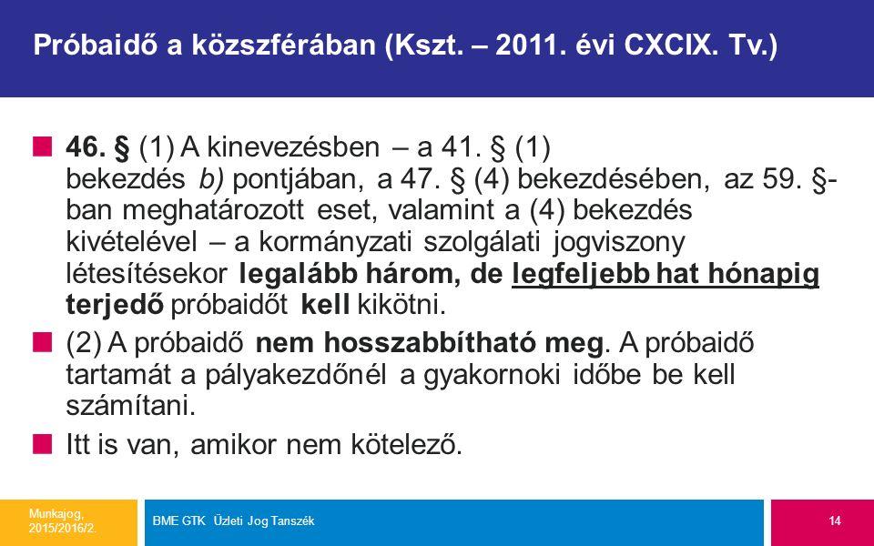 Próbaidő a közszférában (Kszt. – 2011. évi CXCIX. Tv.) 46. § (1) A kinevezésben – a 41. § (1) bekezdés b) pontjában, a 47. § (4) bekezdésében, az 59.