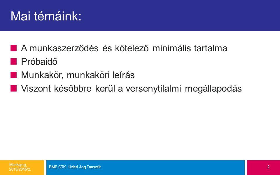 Mai témáink: A munkaszerződés és kötelező minimális tartalma Próbaidő Munkakör, munkaköri leírás Viszont későbbre kerül a versenytilalmi megállapodás Munkajog, 2015/2016/2.
