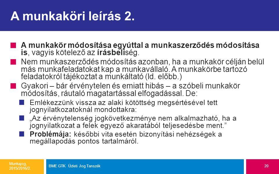 A munkaköri leírás 2. A munkakör módosítása egyúttal a munkaszerződés módosítása is, vagyis kötelező az írásbeliség. Nem munkaszerződés módosítás azon