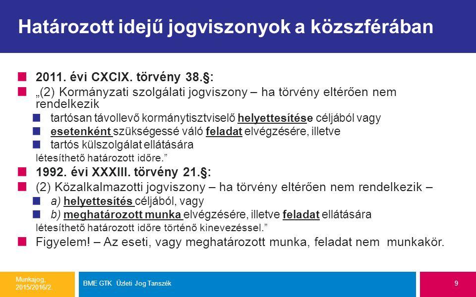 """Határozott idejű jogviszonyok a közszférában 2011. évi CXCIX. törvény 38.§: """"(2) Kormányzati szolgálati jogviszony – ha törvény eltérően nem rendelkez"""