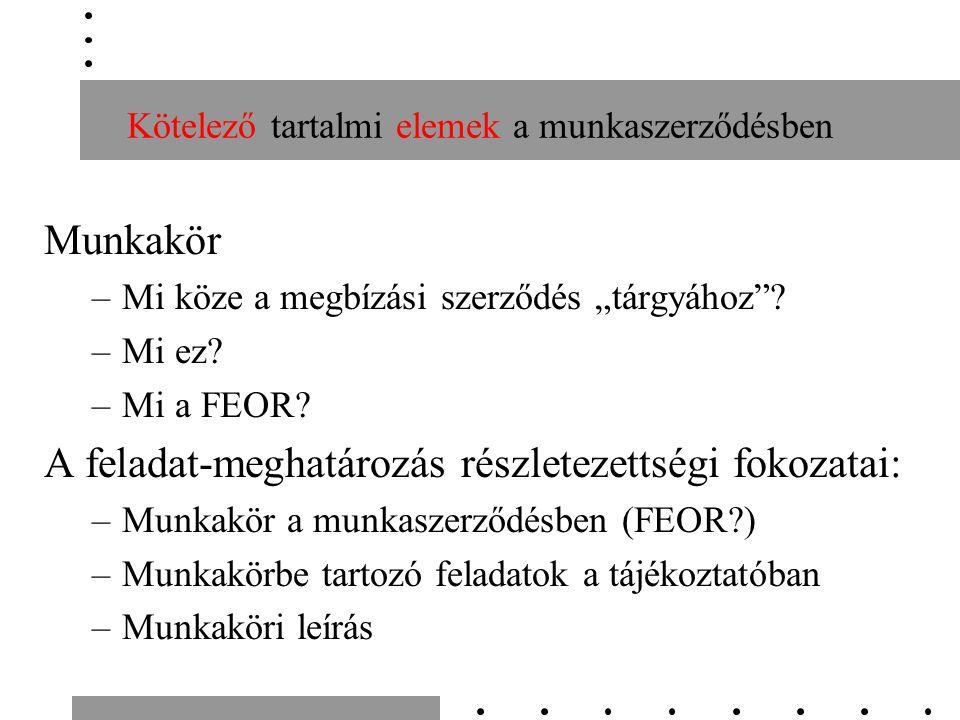 """Kötelező tartalmi elemek a munkaszerződésben Munkakör –Mi köze a megbízási szerződés """"tárgyához ."""