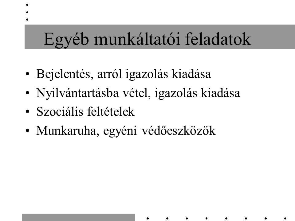 Egyéb munkáltatói feladatok Bejelentés, arról igazolás kiadása Nyilvántartásba vétel, igazolás kiadása Szociális feltételek Munkaruha, egyéni védőeszközök