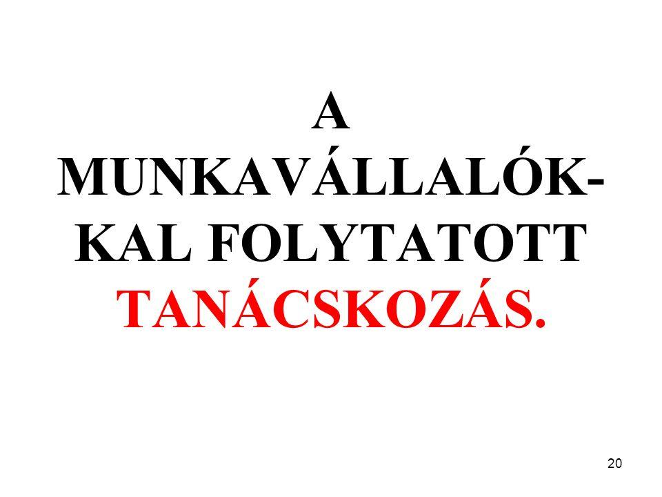 20 A MUNKAVÁLLALÓK- KAL FOLYTATOTT TANÁCSKOZÁS.