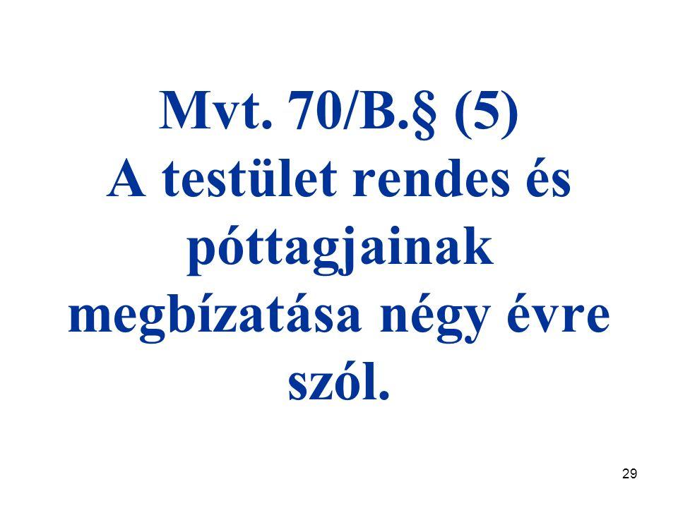 29 Mvt. 70/B.§ (5) A testület rendes és póttagjainak megbízatása négy évre szól.