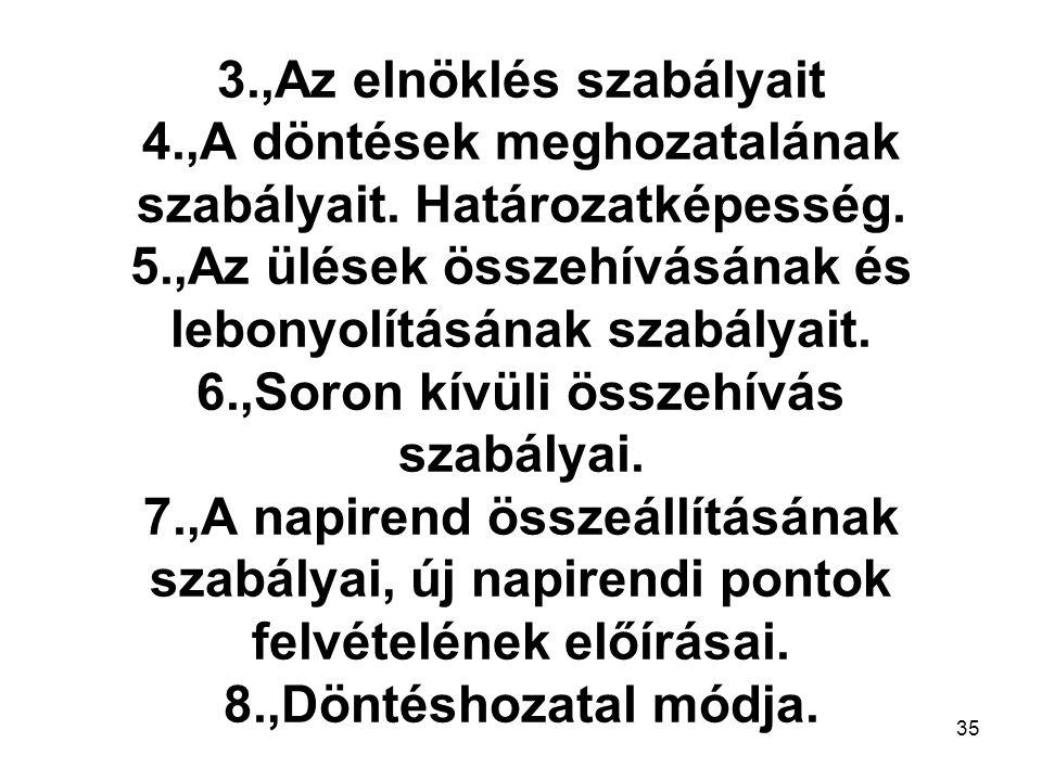35 3.,Az elnöklés szabályait 4.,A döntések meghozatalának szabályait.