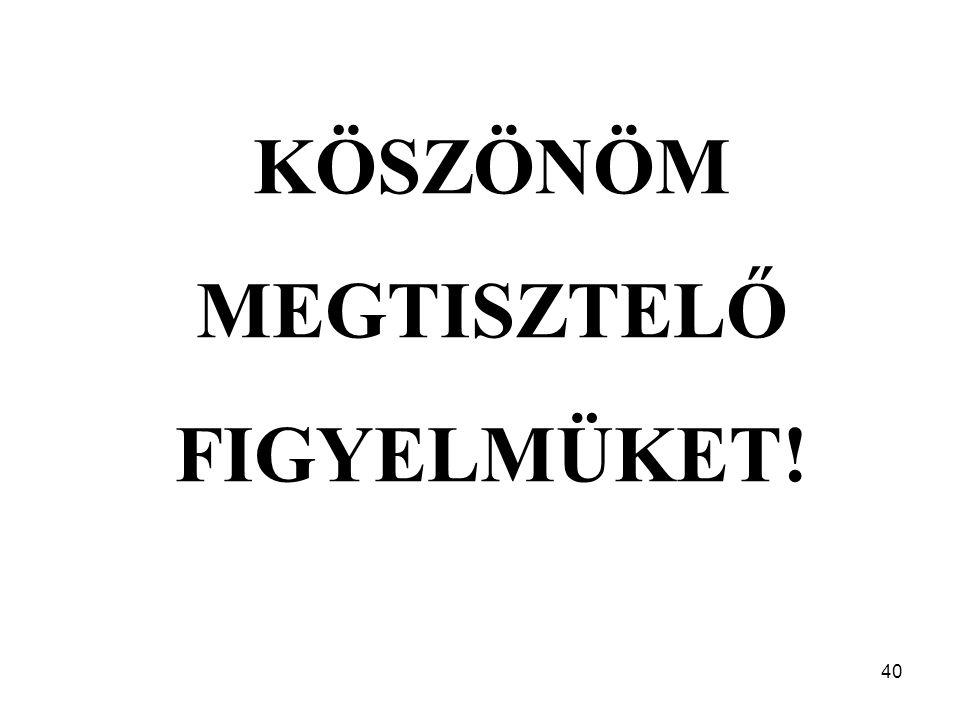 40 KÖSZÖNÖM MEGTISZTELŐ FIGYELMÜKET!