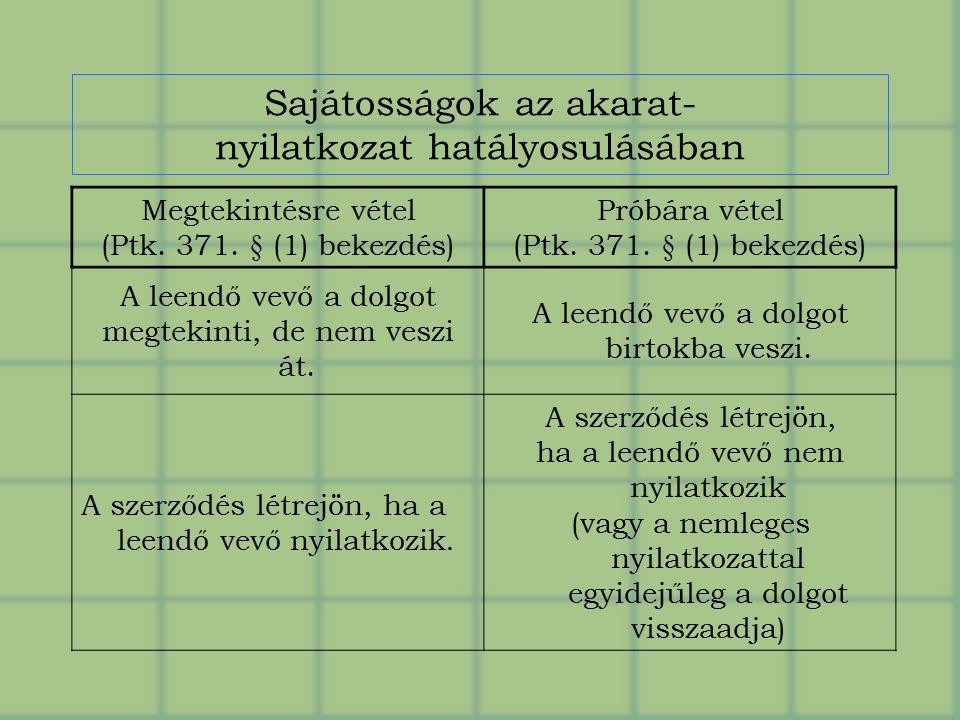 Sajátosságok az akarat- nyilatkozat hatályosulásában Megtekintésre vétel (Ptk.