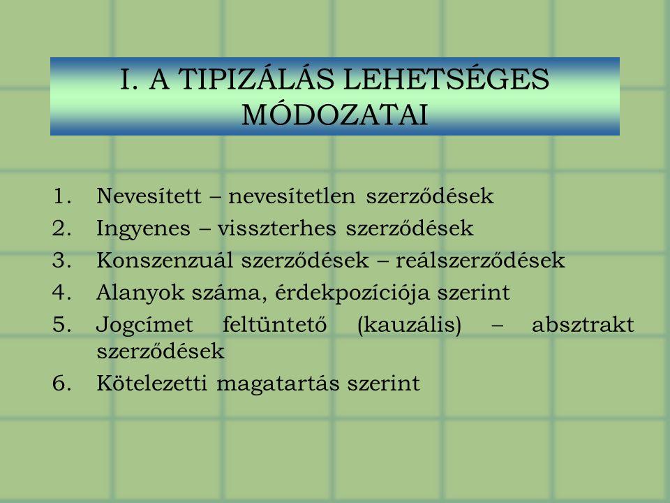 I. A TIPIZÁLÁS LEHETSÉGES MÓDOZATAI 1.Nevesített – nevesítetlen szerződések 2.Ingyenes – visszterhes szerződések 3.Konszenzuál szerződések – reálszerz