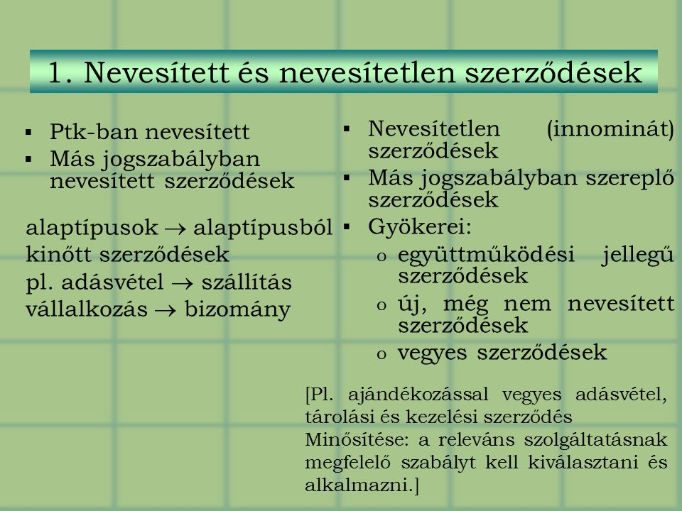 1. Nevesített és nevesítetlen szerződések  Ptk-ban nevesített  Más jogszabályban nevesített szerződések  Nevesítetlen (innominát) szerződések  Más